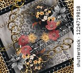 Golden Chain Leopard Skin Background - Fine Art prints