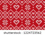 winter holiday seamless knitted ... | Shutterstock .eps vector #1224723562