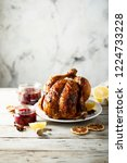 roast chicken with red berry... | Shutterstock . vector #1224733228