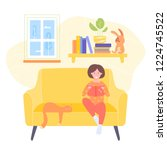 little girl sits in a chair and ... | Shutterstock .eps vector #1224745522