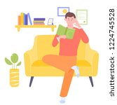 man sits in a large  bright... | Shutterstock .eps vector #1224745528