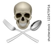 Raster version. Human Skull with a Spoon and Fork. Illustration for design - stock photo
