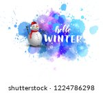 watercolor blue blot with... | Shutterstock .eps vector #1224786298