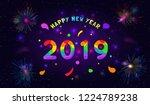 2019 happy new year paper craft ... | Shutterstock .eps vector #1224789238