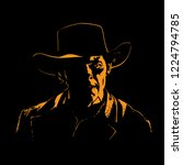 man with cowboy hat silhouette... | Shutterstock .eps vector #1224794785
