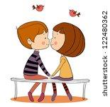 valentine's day kiss  kissing... | Shutterstock .eps vector #122480362