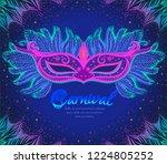 dark blue background with pink... | Shutterstock .eps vector #1224805252