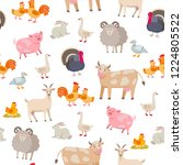 cheerful cute farm animals... | Shutterstock .eps vector #1224805522