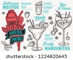cocktail menu template for... | Shutterstock .eps vector #1224820645