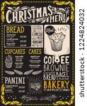 christmas menu template for... | Shutterstock .eps vector #1224824032