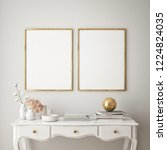 mock up poster frame in modern... | Shutterstock . vector #1224824035