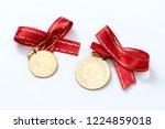 quarter and half turkish gold... | Shutterstock . vector #1224859018