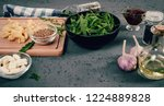 a table when preparing a meal....   Shutterstock . vector #1224889828