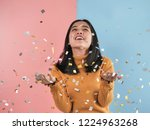 happy asian woman with falling... | Shutterstock . vector #1224963268