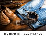 blue jeans with rock style of... | Shutterstock . vector #1224968428
