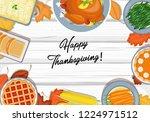 thanksgiving dinner on the... | Shutterstock .eps vector #1224971512