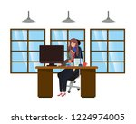 woman working in the office... | Shutterstock .eps vector #1224974005