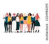 group of strong women vector | Shutterstock .eps vector #1224984295