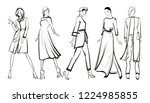 sketch. fashion girls on a... | Shutterstock .eps vector #1224985855