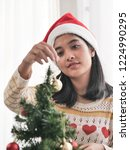 happy asian woman wearing red... | Shutterstock . vector #1224990295