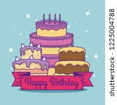 cakes with ribbon decoration to ... | Shutterstock .eps vector #1225004788