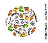 new year. christmas. hand... | Shutterstock .eps vector #1225025995