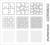 large set of white puzzles... | Shutterstock .eps vector #1225028212