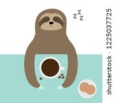 sloth sleeping. i love coffee... | Shutterstock .eps vector #1225037725