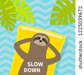 slow down. sloth floating on... | Shutterstock .eps vector #1225039672