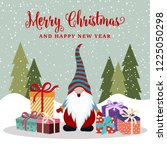 christmas card with happy gnome ... | Shutterstock .eps vector #1225050298