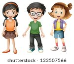 illustration of a boy and girls ...