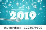 happy new year 2019 snowy... | Shutterstock .eps vector #1225079902