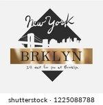brooklyn slogan on gold foil... | Shutterstock .eps vector #1225088788