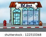 Stock vector illustration of a pet shop near a street 122510368