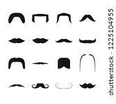 mustache simple black icons.... | Shutterstock .eps vector #1225104955
