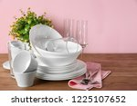 set of clean dishes and glasses ... | Shutterstock . vector #1225107652