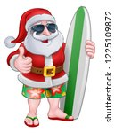 cool santa claus in shorts and... | Shutterstock .eps vector #1225109872