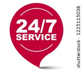 red vector banner 24 7 service | Shutterstock .eps vector #1225115038