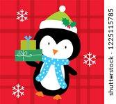 cute penguin christmas greering ... | Shutterstock .eps vector #1225115785