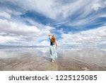 bolivia. salt lake uyuni. a... | Shutterstock . vector #1225125085