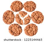 pieces of crumbly cookies with... | Shutterstock . vector #1225144465