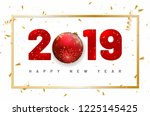happy new year 2019 card with... | Shutterstock .eps vector #1225145425