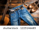 blue jeans with rock style of... | Shutterstock . vector #1225146685