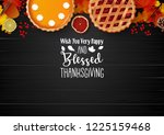 happy thanksgiving day with... | Shutterstock .eps vector #1225159468