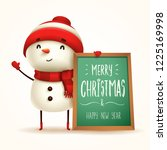 cheerful snowman with message... | Shutterstock .eps vector #1225169998