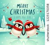 cute little penguins skate on... | Shutterstock .eps vector #1225170358