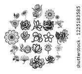 flower icon set. simple set of... | Shutterstock . vector #1225183585