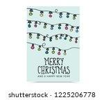 christmas lights greeting card | Shutterstock .eps vector #1225206778