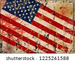 old battered grungy usa flag... | Shutterstock .eps vector #1225261588