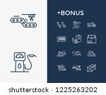 delivery icon set and bulldozer ...